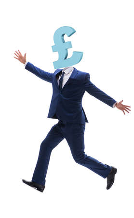 Businessman with british pound sign instead of head