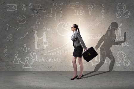 Businesswoman and his shadow in business concept