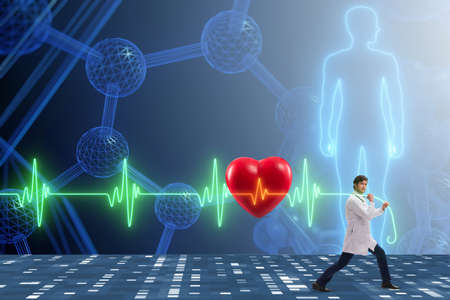 Cardiologist in telemedicine concept with heart beat Stock Photo