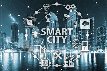 Concept of smart city and internet of things 免版税图像