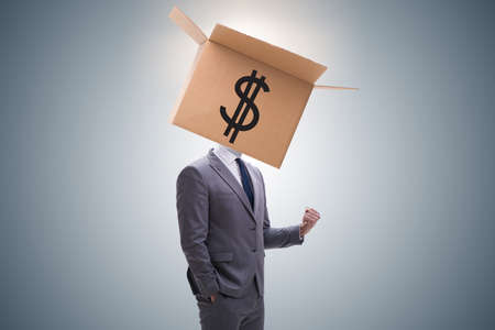 Businessman with dollar box on his head