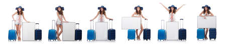Woman in panama  preparing for vacation with suitcase and blank Stock Photo