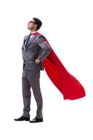 Empresario de superhéroe aislado sobre fondo blanco.