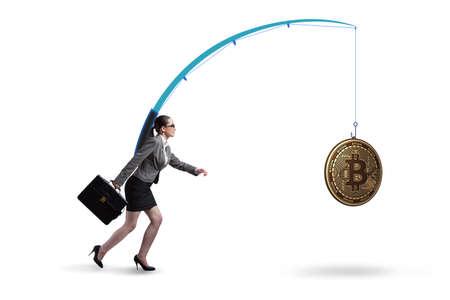 Businesswoman chasing money on fishing rod