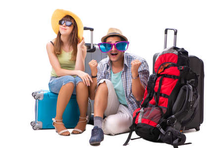 Young family preparing for vacation travel on white background