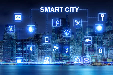 Concept of smart city and internet of things 版權商用圖片