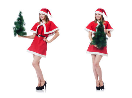 Young woman in red santa costume on white background Stock Photo