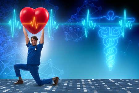Man doctor in cardiology telemedicine concept Stock Photo