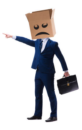 Businessman with box and unhappy face