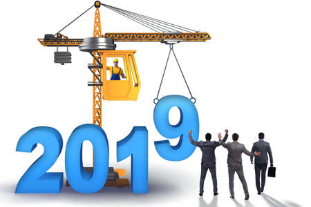 Heavy crane lifting numbers in year of 2019 concept Banque d'images