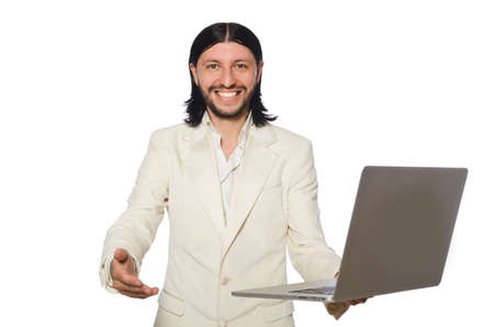 Young man with laptop isolated on white