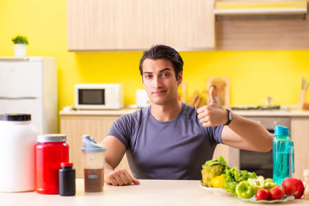 Young man in healthy eating concept