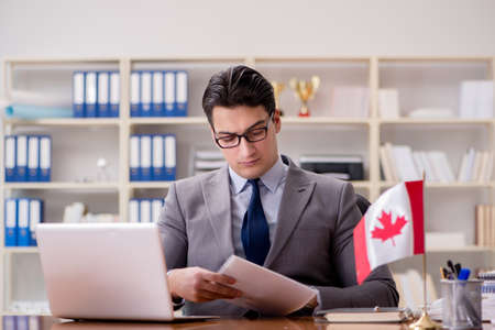 Businessman with Canadian flag in office Stock Photo