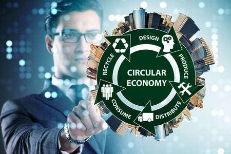 Concepto de economía circular con empresario