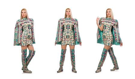 Model wearing dress with Azerbaijani carpet elements isolated on 版權商用圖片