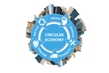 Illustration of concept circular economy Foto de archivo
