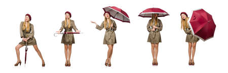 Woman with umbrella isolated on white Banque d'images