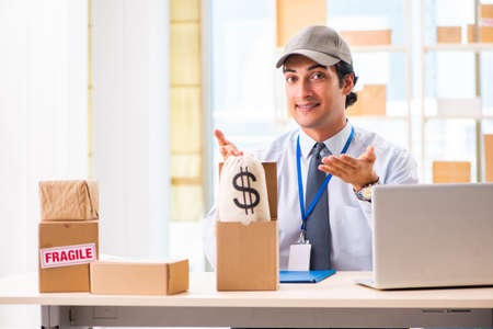 Male employee working in box delivery relocation service
