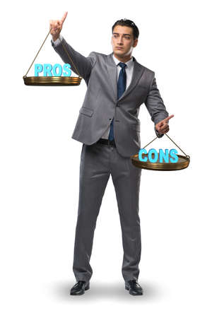 Businessman choosing pros and cons