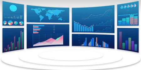 Graphiques et infographies d'entreprise - rendu 3d