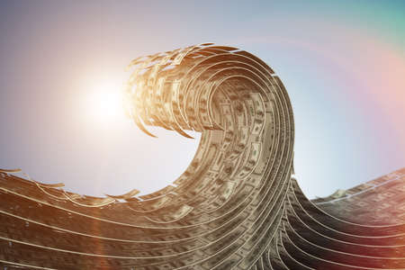 Wave made of dollars - 3d rendering
