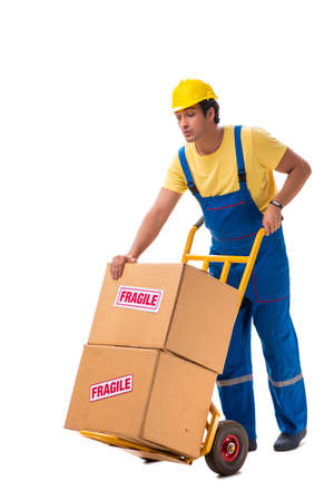 Young contractor with fragile boxes isolated on white Stock Photo