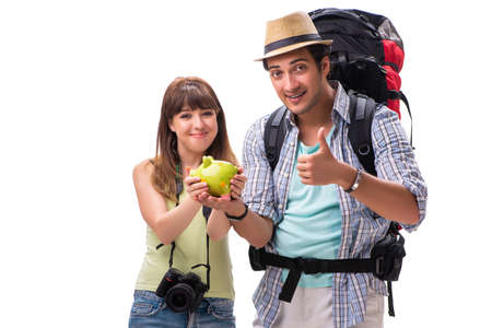 Young family preparing for vacation travel on white