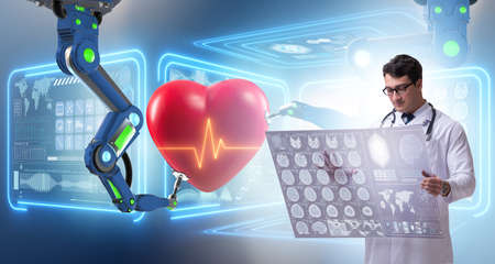 Telemedicine concept with remote monitoring of heart condition Stock Photo