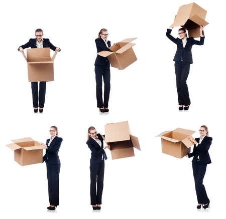 Woman businesswoman with boxes on white Фото со стока