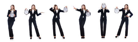Businesswoman with clock isolated on white Stock Photo