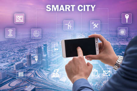 Smart city in innovation concept 免版税图像 - 111387655