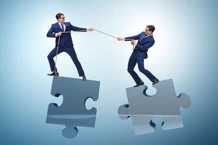 Concepto de negocio de trabajo en equipo y competencia.