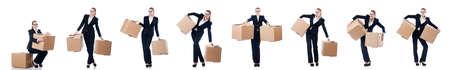 Woman businesswoman with boxes on white Stock Photo