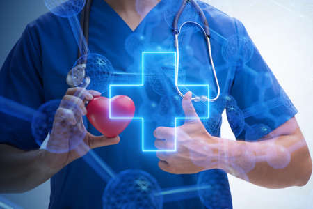 Young doctor cardiologist in telehealth concept