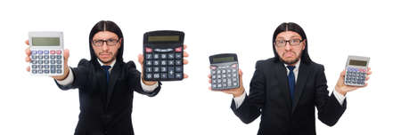 Man with calculator isolated on white Stock Photo