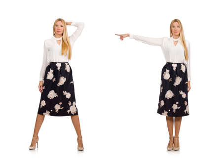 Pretty girl in black skirt with flowers isolated on white Banque d'images - 111486718