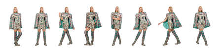 Model wearing dress with Azerbaijani carpet elements isolated on Stock Photo