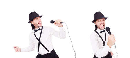 Funny man singing isolated on the white