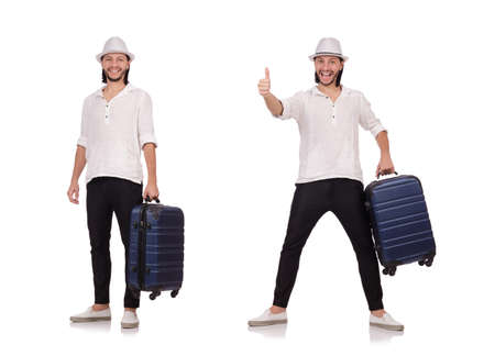Tourist with suitcase isolated on white 스톡 콘텐츠