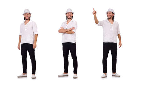 Young man in hat isolated on white Stock Photo