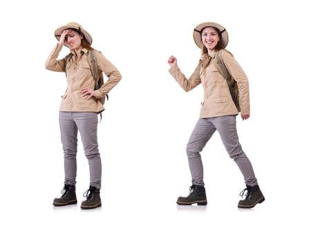 Woman wearing safari hat on white 版權商用圖片