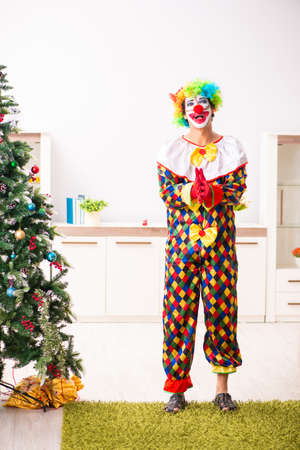 Funny clown in Christmas celebration concept 版權商用圖片