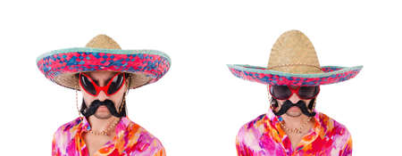 Funny mexican with sombrero hat Imagens