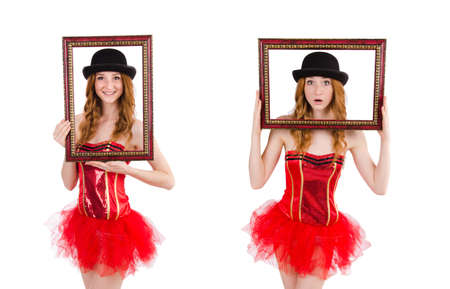 Pretty fairy with picture frame isolated on white 免版税图像