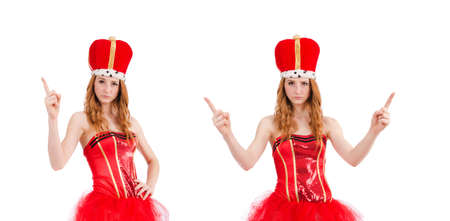 Red hair girl in carnival costume isolated on white Stock Photo