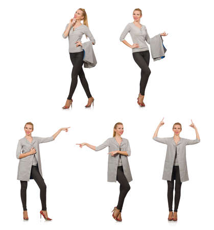 Pretty woman in gray blouse isolated on white Stock Photo