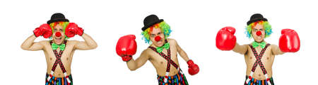 Clown with boxing gloves isolated on the white 免版税图像