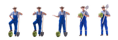 Young farmer with watermelon isolated on white