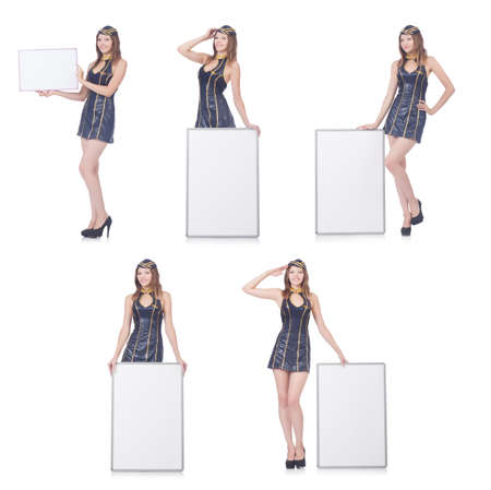 Young woman with blank board on white Banque d'images - 111897418