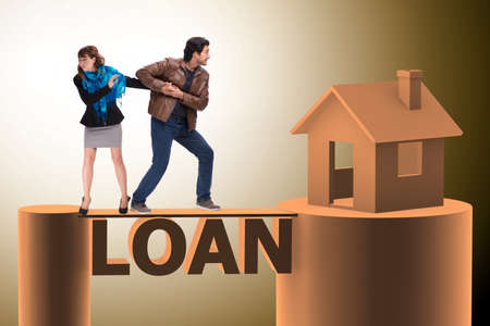 Concept of family taking mortgage loan for house Stock Photo